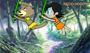 Cindy Bear and Miss Keane swinging on vines in the jungle
