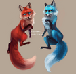 Red and Blue Foxes