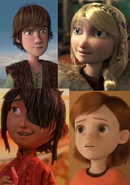 (Family) Hiccup, Astrid, Penny Forrester and Kubo