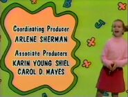 Sesame Street 1992 credits sequence: a girl dances in the green background with letters