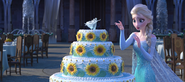 Elsa making a ice statue cake
