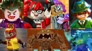 The Joker, Harley Quinn, Harvey Dent (Two Face), the Riddler, the Scarecrow Clayface and Killer Croc as The Koopalings