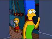 Marge looks worried and Lisa looks sad.