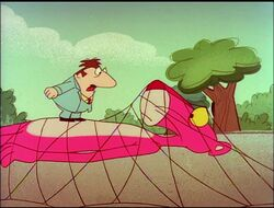 Pink panther trapped in the net with big nose.jpg