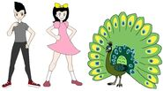 Riley and Elycia meets Green Peafowl