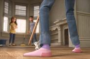 Riley pink socks close up