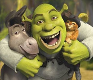 Shrek, Donkey and Puss in Boots