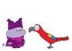 Chowder meets Scarlet Macaw