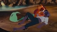 Jade is singing to Swifty after she saved him from drowning