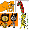 Stanley, Dennis, Joy, Frankie and Mac as African Animals