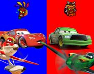 Lightning McQueen and Dusty Crophopper vs Chick Hicks and Ripslinger