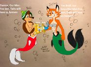 Bodi and Darma holding their Mer-Fox son, Tails