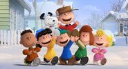 Charlie brown and friends in snow