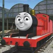 James the red tender engine as Ben