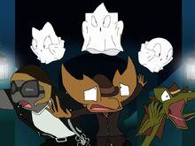 Dressed as ghosts, Parafly-Lum, Fojo and Faja chasing Stan, Nigel and Joe in the corridor.jpg