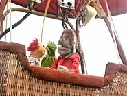Kermit and Lindy ride in a hot air balloon with a Balloonist