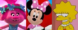 Poppy, Minnie Mouse and Lisa Simpson