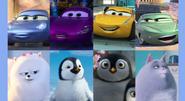 Sally Carrera, Holley Shiftwell, Cruz Ramirez, Flo, Gidget, Bo (Boadicea), Kate the Penguin, and Chloe