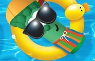 Junior Asparagus wearing his bathing suit
