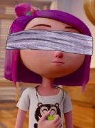 Chloe blindfolded