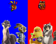 E.B. and Surly vs Carlos and Raccoon