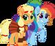 Applejack and Rainbow Dash as Hercules and Megara