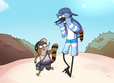 Mordecai and Rigby's beach day