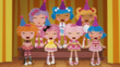 Pillow, Mittens, Spot, Bea, Crumbs, Jewel and Rosy laughing with Party Hats On