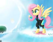 Fluttershy in the beach by TheRETROart88
