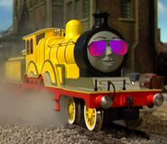 Molly the wonderful engine with sunglasses