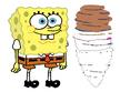 SpongeBob SquarePants watches Sandy Cheels spinning into a tornado