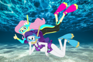 Rarity and Fluttershy snorkelling