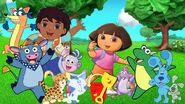 The Dora and Blue Show - Dora and Blue's backyard (with Shovel, Pail, Benny, Isa, Periwinkle, Diego, Baby Jaguar, and Swiper)