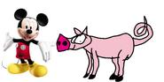 Mickey meets domestic pig