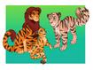 Simba, Nala and Kiara as Tigers