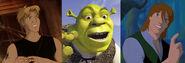 Cale, Shrek and Garrett (Titan A.E., Shrek and Quest for Camelot)