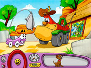 Putt-Putt giving Mr. Baldini's zoo chow to Outback Al