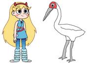Star meets Siberian Crane