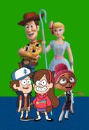 (Family) Woody, Bo Peep, Dipper, Mabel and Mandy