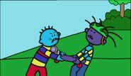 Todd and Aisden fight over the skateboard motor