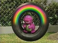 A season 1 Barney doll winks