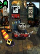 Thomas fights the robot pirates