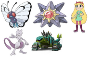 Garby, Mewtwo, Starmie, Butterfree & Star Butterfly
