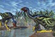 Two-caudipteryx-dinosaurs-drinking-from-a-river u-l-pyal6o0.jpg