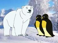 A polar bear and two penguins sensed Riley and his friends arrived at The Forest of Life
