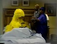 Big Bird falls asleep while Gordon and Susan go get him a book and a snack