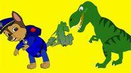 Chase farts at a dinosuar
