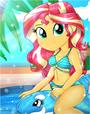 Sunset Shimmer riding her dolphin float in the summertime