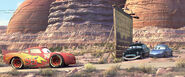 Sheriff and Sally reveal to Lightning McQueen that they siphoned his gas