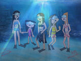 Candace, Stacy, Vanessa, Isabella and Jenny Scuba Diving
